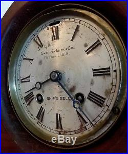100+ YR. CHELSEA CLOCK CO. SHIPS BELL MANTLE CLOCK RUNNING 1911 SERIAL # With KEY