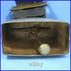 11 Antique Swiss Bronzed Iron COW BELL Leather Belt Brass Buckle Hallmark 1912