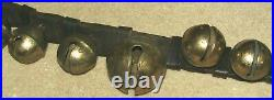 13 Original Antique Brass Embossed Horse Sleigh Bells With Buckles Leather Strap