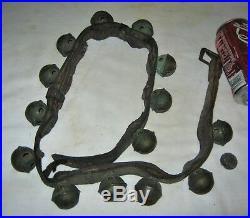 14 Primitive Equestrian Brass Horse Sleigh Bells Antique Country Farm Door Art