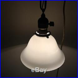 16 Brass Pendant Light Pair Wired With Milk White Bell Shades Antique 28E
