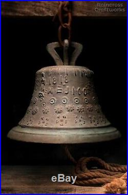 1818 BRONZE MISSION BELL, Vtg Antique Architectural Salvage Mexico Church Brass