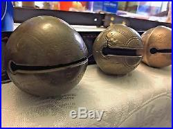 18 Collectable Antique Brass Horse Sleigh Bells W-b J-s N-s H-b Leather Strap