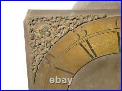 18thC Wilks Wolverton Brass Long Case Clock Dial + Movement + Bell RESTORATION