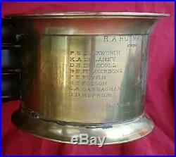 1918 Waterbury Clock Company Brass Ships Bell Dark Wood Base