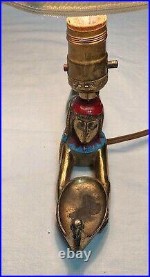 1920s L. V. Aronson Egyptian Revival Incense Burner Lamp Art Deco Prone Goddess