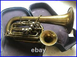 1921 Beuscher 5 Valve Double Bell Euphonium Baritone- Original Antique