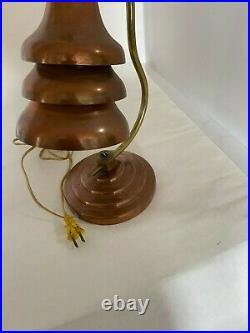 1930s Art Deco Machine Age Table Lamp Brass & Copper Tiered Shade Rewired