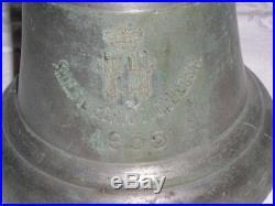 1935 R. I. E. Filberto Duca D' Aosta WW ll Lite Italian Cruiser Brass Ships Bell