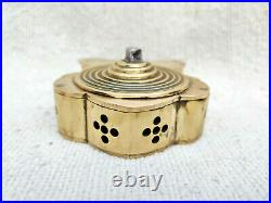 19c Antique Original Handmade Wind Up Rare Brass Bell Padlock Working Nicely