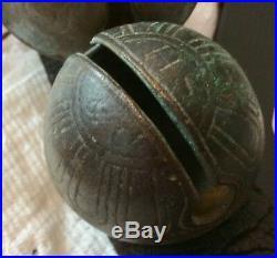 19th C 16 Antique Unpolished Brass Shank Petal Sleigh Bells, MarkedNS, HB, HS&C