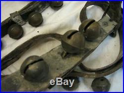 20 Brass/Bronze Sleigh Neck Bells Equestrian Horse Musical Jingle Leather Belt