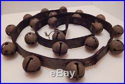20 Brass Vintage/Antique Sleigh Bells Jingle Bells on 53-inch Leather Strap