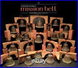 21 BRONZE FORBES MISSION BELLS, Vtg Old Brass Antique California Church Souvenir