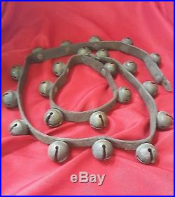 22 Antique Brass Sleigh Bells On Leather Strap Bells Patented Oct 24 76 & May 78