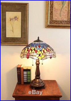 23'' Tiffany Style Red Dragonfly Table Lamp Stained Glass Desk Light Handcrafted