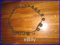 24 Antique Brass Graduated Sleigh Bells Up To Size 7 Very Heavy On Leather Strap