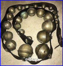 25 Antique Graduated Brass Sleigh Bells On Leather Horse Strap Christmas