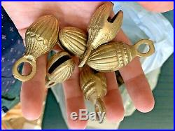25x Antique Vintage Horse Carriage Christmas Brass Sleigh Bells Almond Acorn