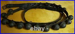 26 Brass Sleigh Bells Antique 89 Strap Harness Jingle Leather Graduated Buckle