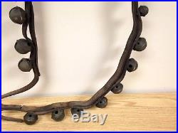 29 Antique Solid Brass Sleigh Carriage Bells on Original Leather Strap with Buckle
