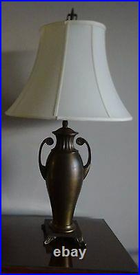 2 ANTIQUE BRASS URN LAMP with Ivory silk Shantung Bell Shades 3-Way