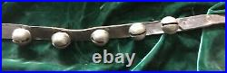 2 Antique 1 Brass Sleigh Bells 80 Long total Leather Straps w 26 Jingle Bells