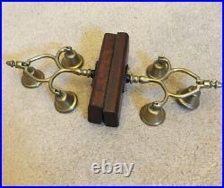 2 Decorative Antique Brass 3 Bell Swingers Terret Heavy Horse Harness Trio Wood