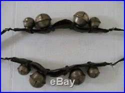 2 SETS Antique Brass SLEIGH BELLS Leather Rump Strap Complete With Buckles