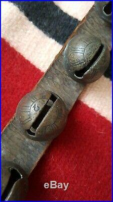 2 Vintage Sleigh Bells Leather Harness Horse Amazing Antique 52 Brass Bells