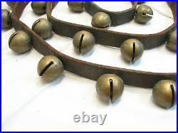 30 Brass/Bronze Sleigh Neck Bells Equestrian Horse Musical Jingle Leather Belt A