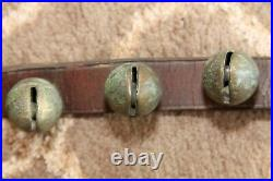32 Brass Antique Sleigh Bells Jingle Bells on 82 Leather Strap with Great Sound