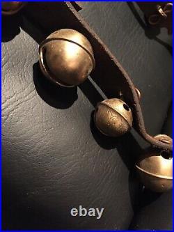 35 Antique Graduated Brass Petal Sleigh Bells Leather Strap All Original 6 Feet