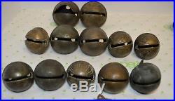 38 Graduated #'s Antique Brass Sleigh Bells Christmas Decor 0-7 Petal 1800's