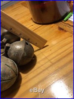 3 Antique Brass Sleigh Crotal Jingle Bells 1800'S Lot