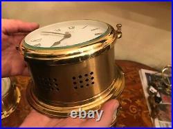 3 Vintage German Schatz Brass Maritime Ships Bell Clock Barometer Hygrometer