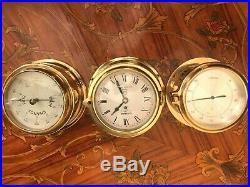 3 Vintage Ship Brass Marine Danbar Ships Bell Clock Barometer Hygrometer