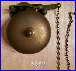 4 Antique Brass Pull Chain Bell Excellent Working Condition LOUD