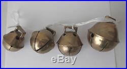 4 Antique Triple Throat Brass Sleigh BELLSGraduating SizeNumber 10 Largest