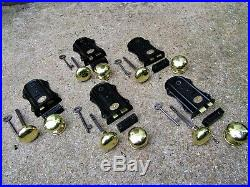5 SETS of EDWARDIAN DOOR RIM LOCKS BRASS HANDLES KEEPS KEY letter box knob bell