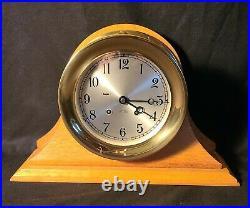 6 Chelsea Heavy Brass Ships Bell Clock, Wood Base, Key Serial Number 1980-1984