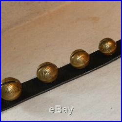 72 Antique GRADUATED Embossed BRASS Sleigh Bells Leather Strap Horse Carriage