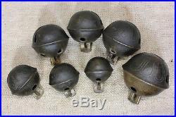 7 BRASS Petal SLEIGH BELLS #4 -10 no 7 Old 1800s vintage jingle rustic primitive