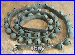 89 Inch Leather Belt 45 Count Antique Brass Sleigh Bells