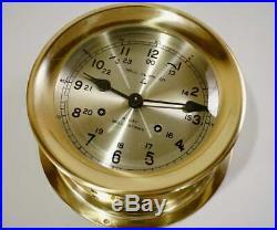 8 Day Ship Clock Navy Bell Strike Polished Brass Wind