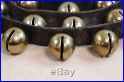 90 Long Antique Brass 40 Sleigh Jingle Bells on Leather Horse Neck Strap