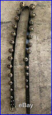 91 Leather Belt W 25 Primitive Antique Graduated Petal Style Brass Sleigh Bells