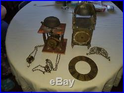 ANTIQUE 1700s BRASS LANTERN BELL CHIME CLOCKS to Restore Or Parts