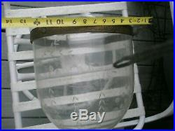 ANTIQUE 19th Century Hall Lantern 3 Light Bell Jar Ceiling Fixture Pendant Glass