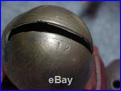 ANTIQUE 1 1 HORSE DRAWN SLEIGH BELLS GRADUATED Brass Embossed 60 in. Strap